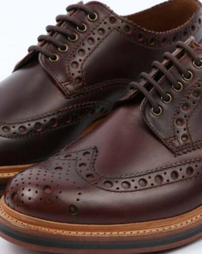 Grenson Archie Brogue Calf Leather Lace up Mens shoes Chestnut All sizes