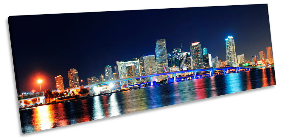 Miami Night Skyline Florida Picture PANORAMA CANVAS WALL ART Print