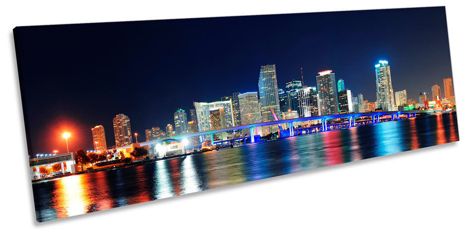 Miami NOTTE Skyline Florida Foto Panorama Tela Wall Art Print