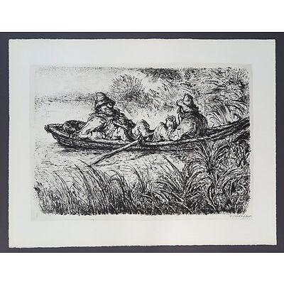 A. Paul Weber Jagdpause Lithographie 1954 handsigniert