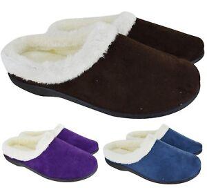 Senoras-para-mujer-Slip-On-mulas-Inddor-Acolchado-Caliente-De-Invierno-Zapatillas-Zapatos-Talla-3-8