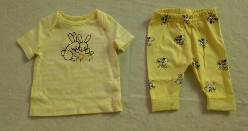 NWT Hanna Andersson Bunny Rabbit Short Sleeve Top Pants Wiggle Set Baby Girl