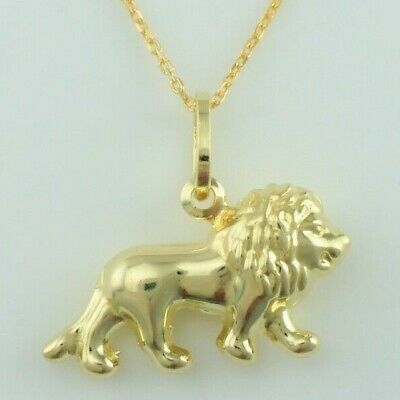 "Offizielle Website 9ct Yellow Gold Lion Leo Zodiac Charm Pendant Necklace 16"",18"",20"" Chain"