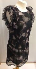 Saint Tropez Ladies Black Grey Top Dress Floaty Sheer Layered Ruffle Size L