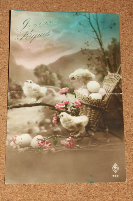 Vintage Postcard: Joyeuses Pâques, Happy Easter, Chicks, Eggs, Flowers, 1923