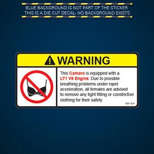 Camaro Lt1 V8 Engine Warning No Bra Self Adhesive Sticker