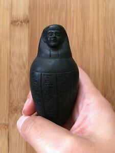 Vintage-Egyptian-1970-039-s-Imsety-Canopic-Jar-Black-Soapstone-Figurine-24-99