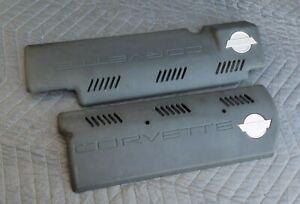 Fuel-Injection-Rail-Cover-Set-LH-amp-RH-OEM-1993-LT1-C4-Corvette