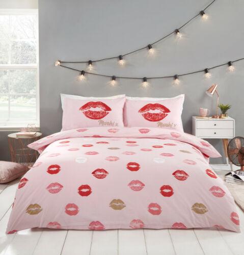 Pillowcases Sparkle Lippy Lipstick Kisses Duvet Quilt Cover Pink Bedding Set