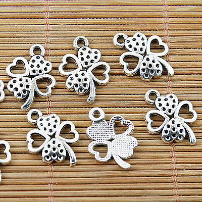 24pcs Tibetan silver heart leaf charm pendants EF1367