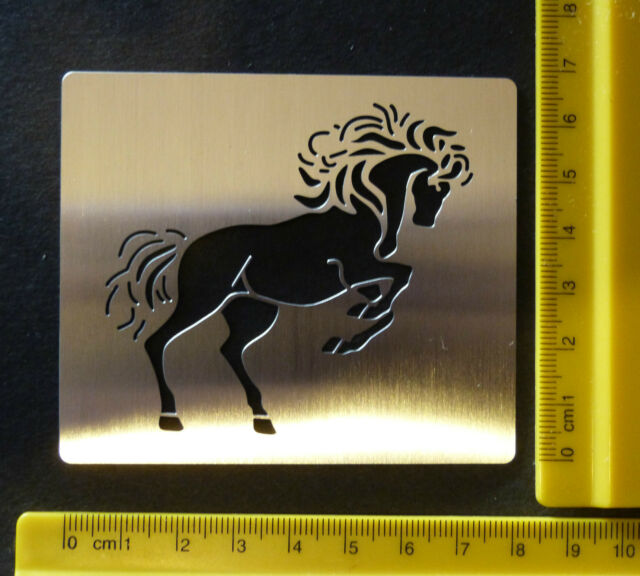 Stainless * Steel * Stencil * Horse * Stallion * Rearing * Emboss * NEW *DAMAGED