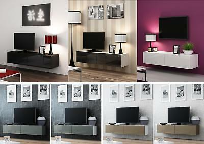 High Gloss Tv Cabinet Entertainment Unit Floating Wall Mounted Tv Unit 140cm Ebay