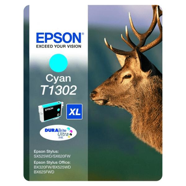 Genuine Epson T1302 Cyan Ink Cartridge (T1302) C13T13024010 Stag