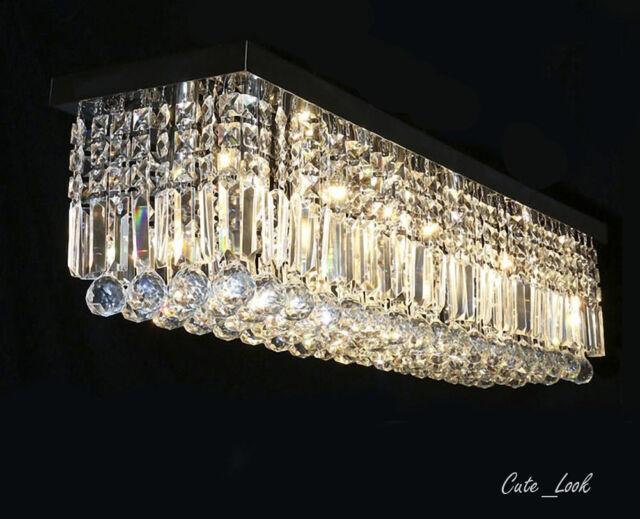 40 Rectangular Crystal Pendant Ceiling Lamp Dining Room Chandeliers Lighting