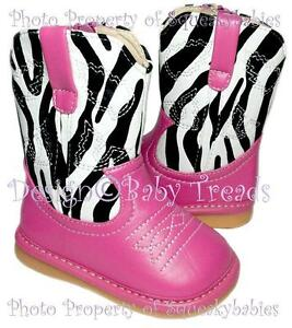 13d7b11fc8e Details about Squeaky Shoes Girls Cowboy Boots HOT PINK & ZEBRA Print Upper  Cowgirl Sz SALE!!!