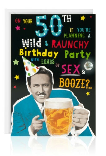 Humour 50th HAPPY BIRTHDAY male Greetings Card Funny OTC5036
