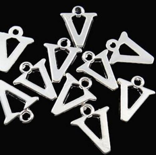 BULK 40 Letter V Alphabet Charms Silver Plated SC2357