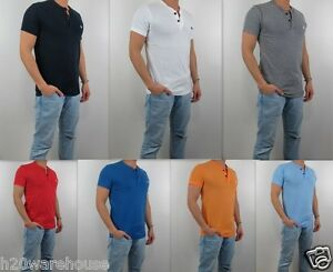 NWT-Abercrombie-amp-Fitch-A-amp-F-2015-Men-Muscle-Fit-Henley-Tee-T-Shirt-By-Hollister
