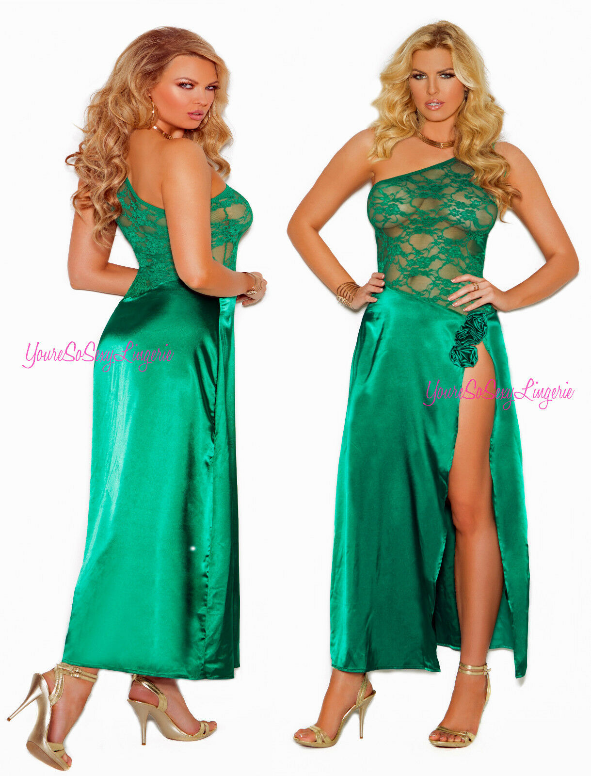 Plus Size JADE Charmeuse LONG GOWN High Split LEG One Shoulder pink Detail QUEEN