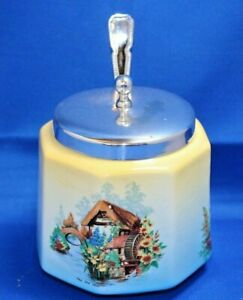 Vintage 1930's Flosmaron Warwick sugar bowl preserve pot with spoon The Old Mill