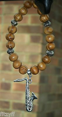 In Car Saxophone Charm Pendant /& Wood Wooden Beads Sax Musician Jazz Souvenir