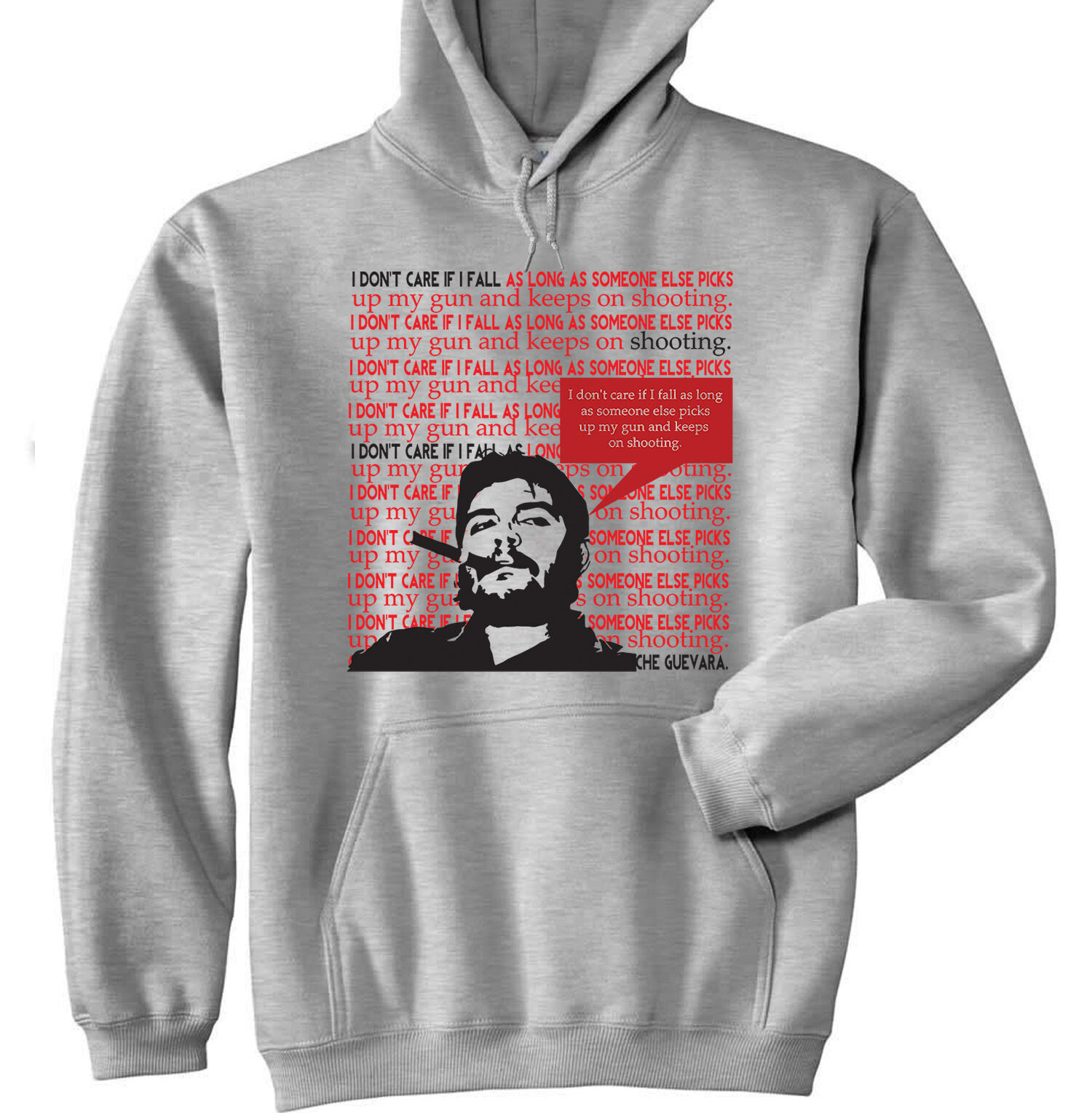 CHE GUEVARA I DO NOT CARE - NEW COTTON GREY HOODIE