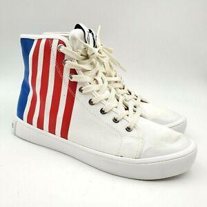 White Blue Canvas Shoes Sz 13