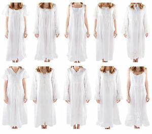 Image is loading Ladies-Long-Victorian-Style-White-Cotton-Nightdress-Smocks- d7121516f