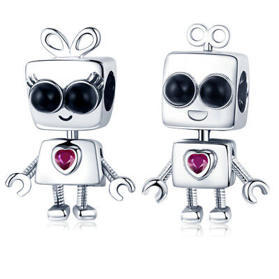 Voroco Blue Robot Real 925 Sterling Silver Charm Bead For Bracelet Chain Jewelry
