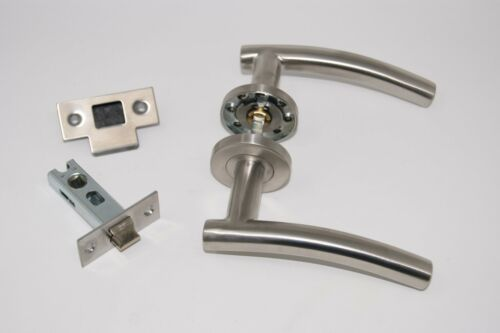 Latch Set 10 X Arched Door Handle Pack +2 x Bathroom Set Satin Stainless Steel