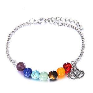7-Chakra-bunte-Perlen-Armband-Lotus-Anhaenger-Energie-Knoechel-Kette-Schmuck-XJ