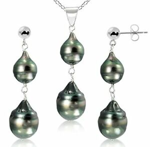 Sterling-Silver-8-12mm-Black-Off-Shape-Tahitian-Cultured-Pearl-Pendant-and-St