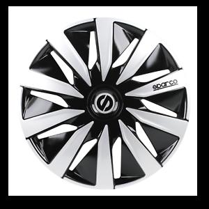 """4 Copricerchi auto universali SPARCO mod LAZIO borchie 15/"""" nero e silver in ABS"""