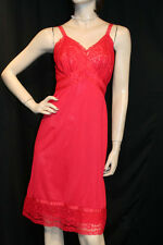 "32-34 Red Silky Nylon 4"" Lace Hem Vtg 50s Seamprufe USA Full Dress Slip"
