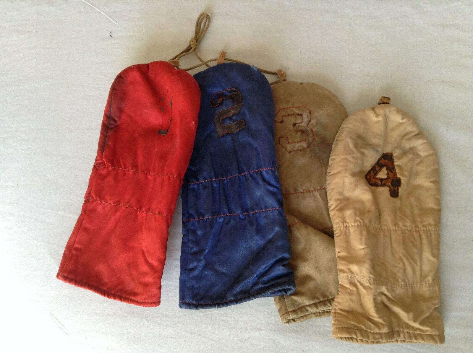Wood Headcover  - Vintage 1,2,3,4 wood set nylon Red bluee Cream Tan