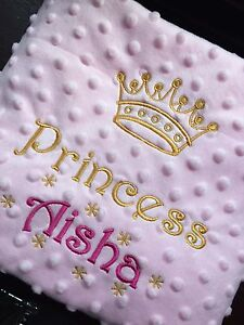 couverture bébé garçon personnalisé PERSONALISED Baby BLANKET Cot Pram PRINCE PRINCESS BOY GIRL Pink  couverture bébé garçon personnalisé