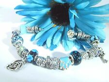 European Style 925 Sterling Blue Murano Glass Beads and Charm Bracelet No. 1