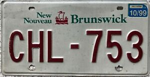 New Brunswick Canada Sailing Ship License Canadian Licence Number Plate CHL 753