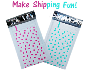 Padded Shipping Mailing Envelopes 20 Hot Pink and Teal 4x8 Poly Bubble Mailers