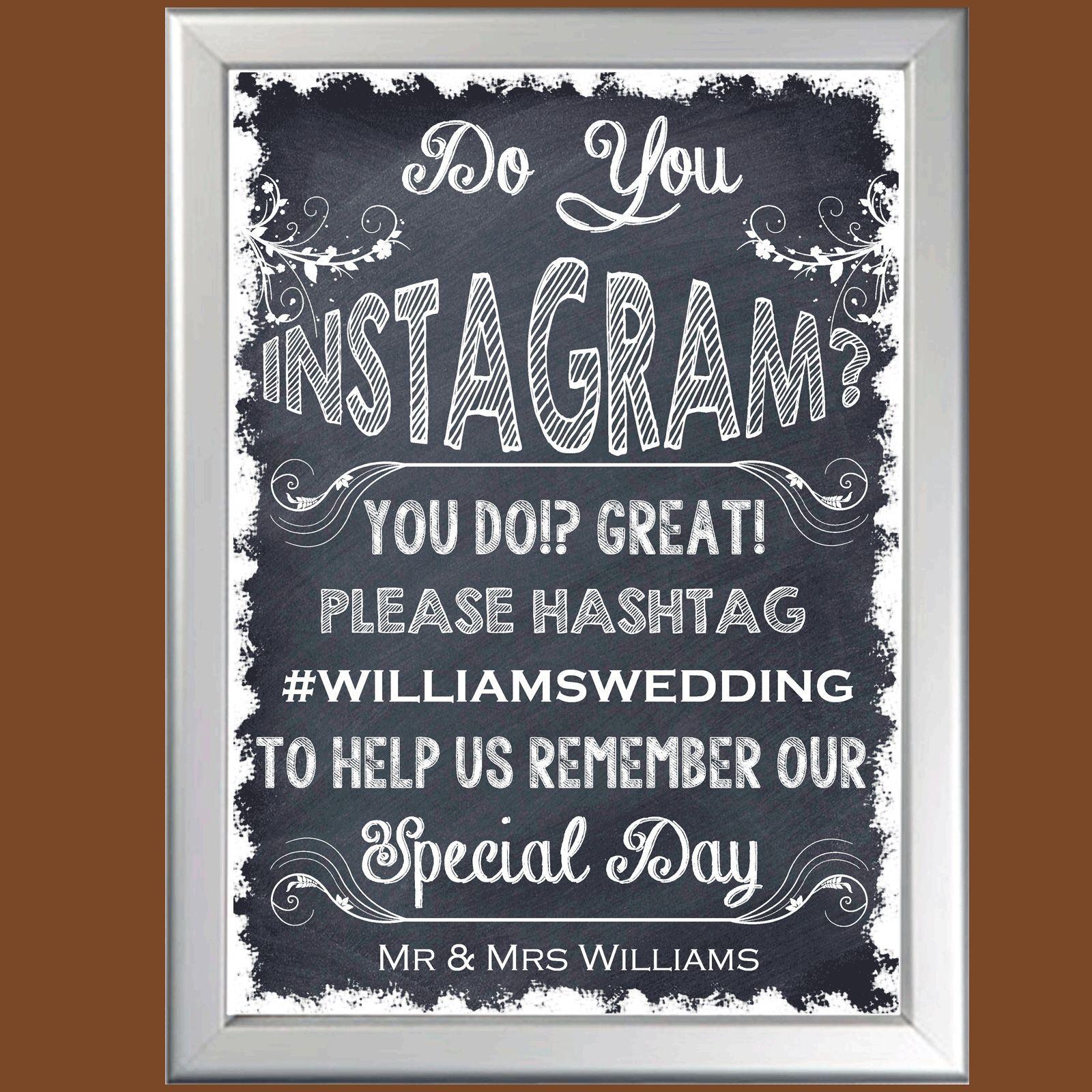 Personalised Wedding Segno Segno Segno Hashtag il nostro matrimonio su Instagram Lavagna POSTER U 979d58