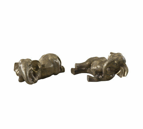 Theodore Alexander 1023-126 Set of 2 Brass African Elephants Lying Down,Playing