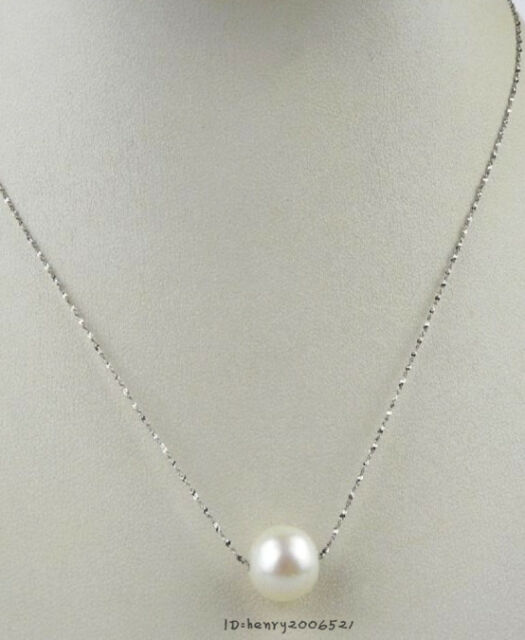 Natural freshwater , pearl necklace single-hole pendant 9-10 mm silver white