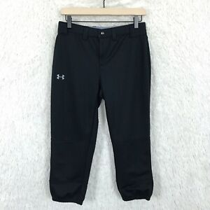 Under-Armour-Black-Softball-Capris-Pants-Baseball-Fitted-Stretch-Womens-Small