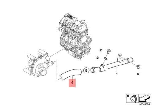 Genuine Engine Thermostat Hose Connection MINI Cooper R52 R53 11537509199