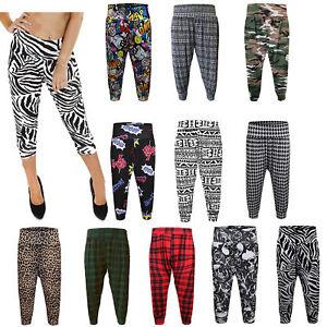 Nouveau Femme Harem Pantalon Ali Baba Pantalon Long Baggy Legging Imprimé Taille 8-26
