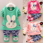2016 Fashion Girls Kids Top+ Pants Clothes Girls Cute Outfits Rabbit Size 1-6Y