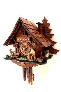 Details zu Original Schwarzwälder Kuckucksuhr Schwarzwaldhaus beweglicher  Holzhacker NEU