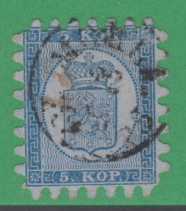Finland-4-Very-Fine-5-Kop-1860-Mohla-Cancel-Extremely-Rare-R5-Level-Rarity