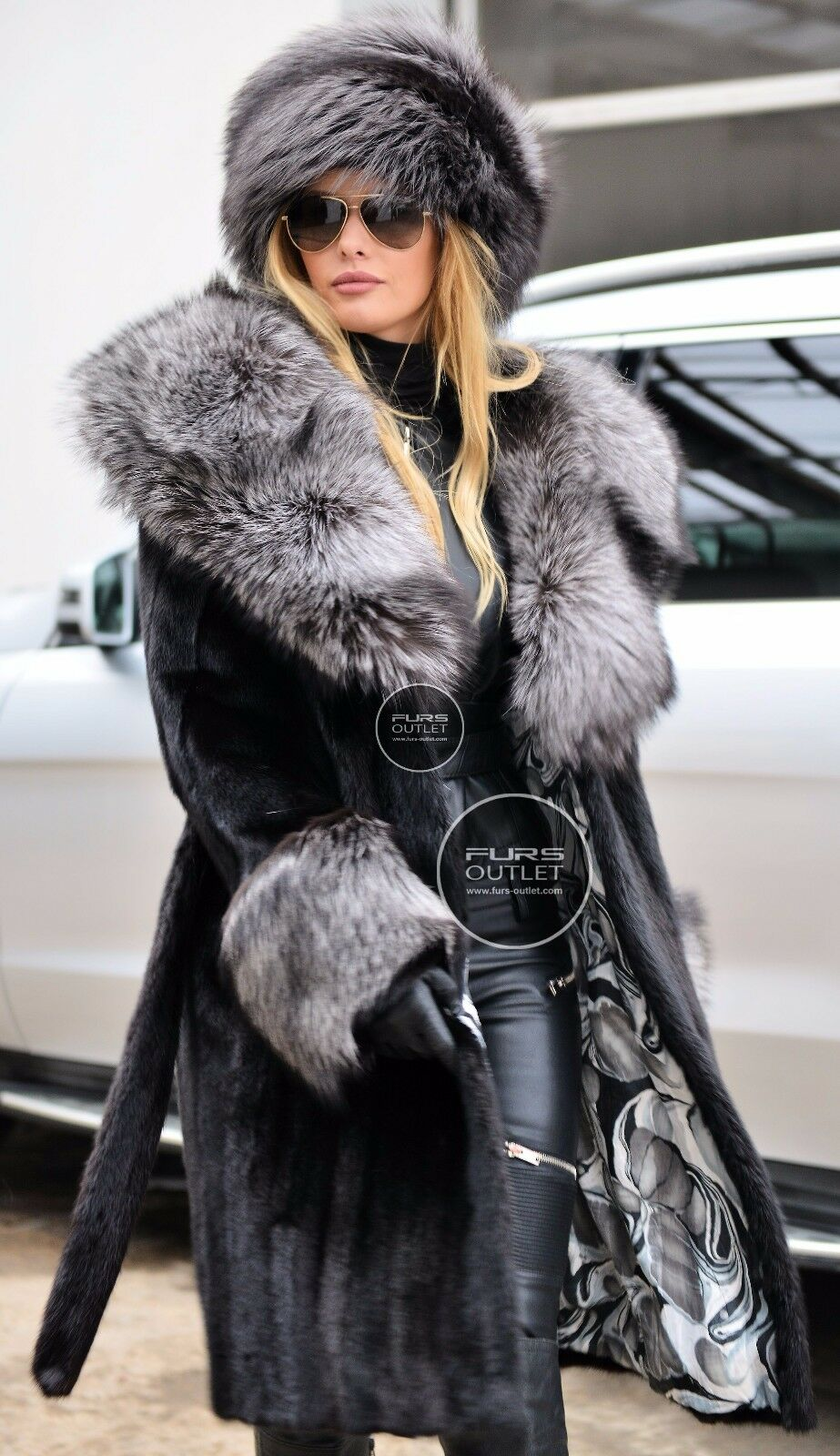 Saga Mink Trench Fur Coat Silver Fox Belt Class Of Sable