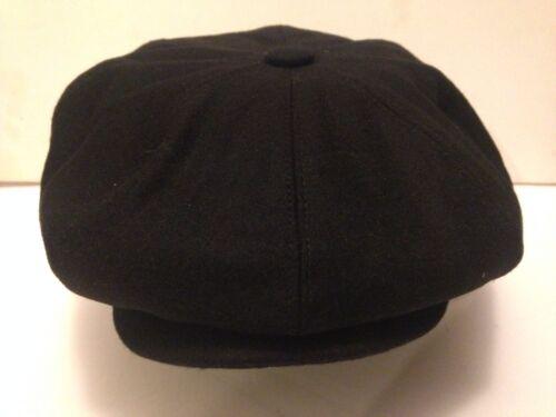 GENTS BLACK WOOL NEWSBOY BAKER BOY GATSBY CAP PEAKY BLINDER S M L XL 2XL